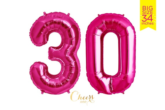 34 BIG 30 Pink Foil Number Balloon Birthday