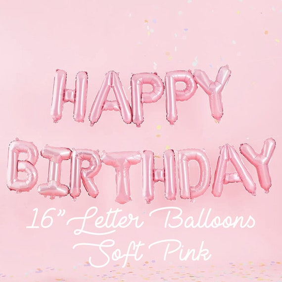 Pink Happy Birthday Letter Balloons.Sale 16 Soft Pink Letter Balloons Happy Birthday