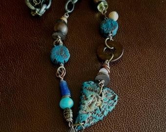 Sold Clay Heart Necklace.  Asymmetrical. Fun.  Medium length.