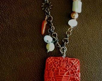Sold Japanse Style Boho Necklace.  Long length.