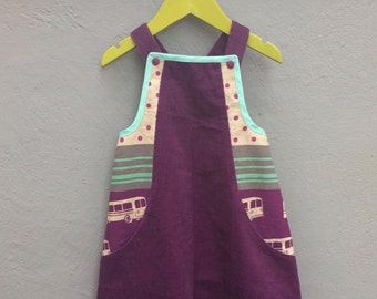 Purple colorful corduroy dress with bus print and hidden pockets, size 104 / 4 years