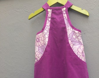 Lilac sweet corduroy dress with flower print and hidden pockets, size 80 / 12 months