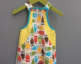 Corduroy dress with owl print and hidden pockets, size 68 / 6 months
