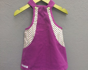 Lilac sweet corduroy dress with mini-flower print and hidden pockets, size 68 / 6 months