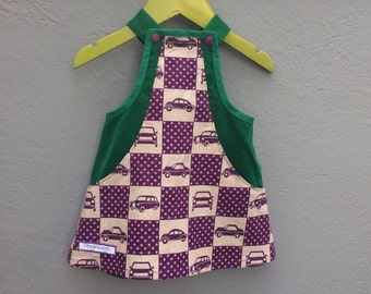 Green and purple colorful corduroy dress with car print and hidden pockets, size 68 / 6 months