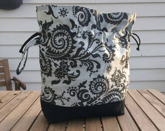 Black Fern - Large sized drawstring project bag for knitting + matching needle holder (DPN cozy) + notions pouch