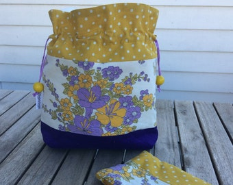 Easter bloom - Small sized drawstring project bag for knitting + notions pouch