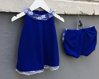 Royal blue merino wool baby dress with matching bloomers and white lace details, size 56 / 1 - 3 months