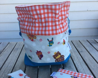 Gingham circus - Small sized drawstring project bag for knitting + matching needle holder (DPN cozy) + notions pouch