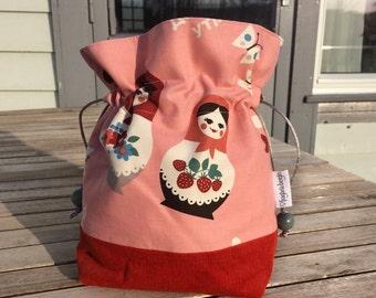 Peachy Dolls - Mini sized drawstring project bag for knitting