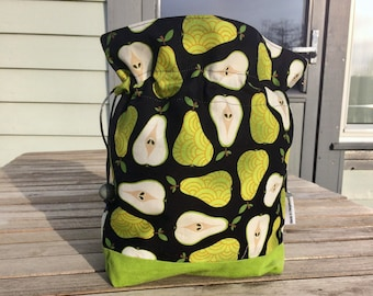 Tart pear - Small sized drawstring project bag for knitting