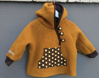 Sunny mustard yellow wool anorak with pocket and hood, size 80 / 12 months