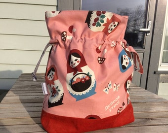 Peachy Dolls - Large sized drawstring project bag for knitting