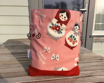 Peachy dolls - Small sized drawstring project bag for knitting