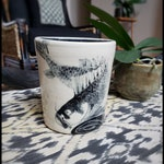 Sgraffito Fish Porcelain Brush or Pencil Holder