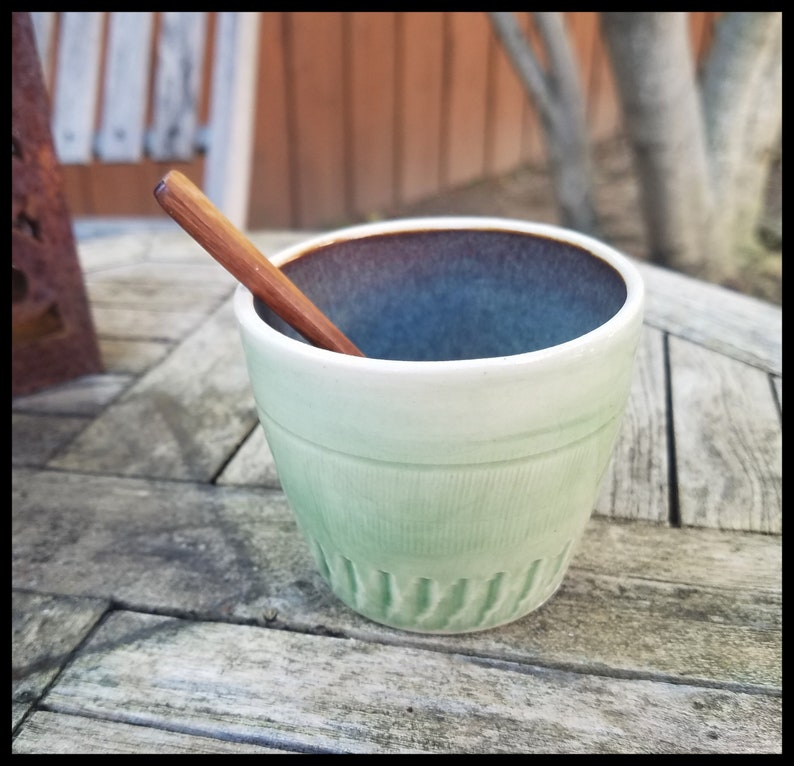Handmade Pottery Salt Cellar Bowl with Spoon