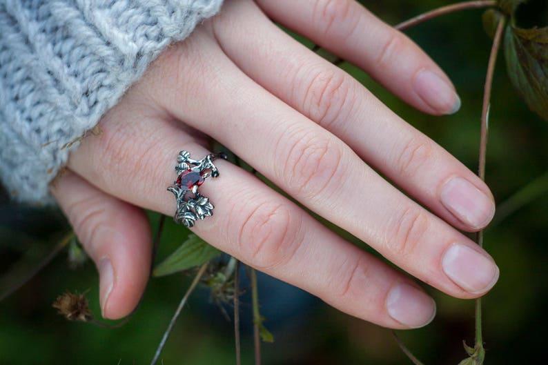 Garnet Delicate Garnet Ring Wedding Ring, Engagement Garnet Ring Sterling Silver Natural Ruby Garnet Ring Rhiannon Flower Ring