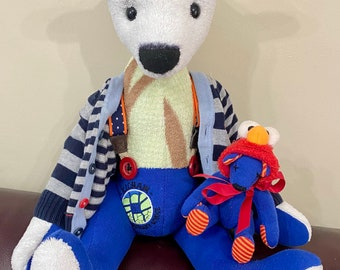One of a kind and hand made. A nautical themed mohair bear The Captain