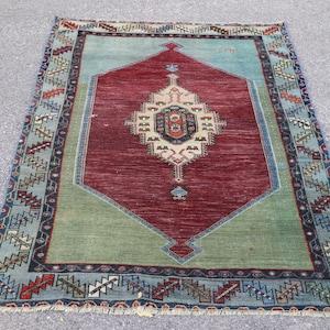 117x221 cm Area Wool Rug Turkish Carpet Rug Bohemian Rug 3.10 ft x 7.3 ft Handmade Anatolian Rug Boho Decor Rug Vintage Carpet