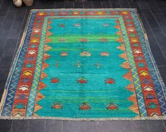 Green Rug, Pastel Color Rug, Free Shipping 4.9 x 5.2 Bohemian Rug, Coastal Decorative Rug, Turkish Rug, Boho Rug, Ethnic Rug  No 1109