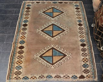 Oushak Rug, Free Shipping Aztec Rug, Bohemian Rug, Pastel Color, Vintage Rug 3.6 x 4.4 Turkey Rug Area Rug, Anatolian Rug, No 951