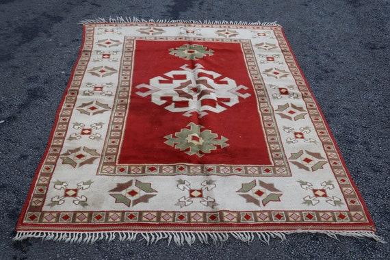 vintage rug,oriental rug,pastel color rug,turkish carpet Turkish Rug hand woven rug,rug 3.7 X 7.1 FT