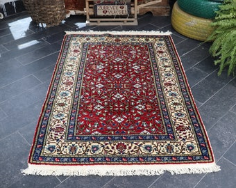 Turkish Luxury Rug, Soft Wool Rug, Turkish Area Rug  Decorative Rug 2.9 X 4.4 Handknotted Rug Bright Color, FREE SHIPPING, No 311