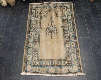 Anatolian Pale Color Rug, Turkish Rug, Oushak Rug, Hereke Rug, Boho Rug, Free Shipping 2.7 x 4.3 Area Rug, Floor Rug, Prayer Rug No 1105
