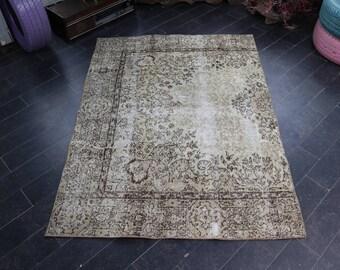 Turkish Rug, Bohemian Rug, Area Rug, Anatolian Handmade Wool Rug, Vintage Rug, FREE SHIPPING 4 x 5.4 Area Rug, Floor Rug, Boho Rug No 1129