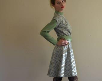 Green Plaid Vintage 60s Dress
