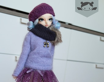 Pastel lillac Mohair Sweater for slim MSD Minifee
