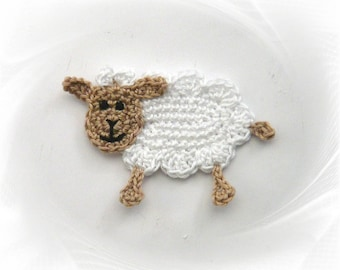 crocheted sheep application, sheep crochet application for sewing for children