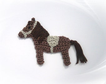 Crochet application small horse, crochet pony for sewing, horses application for children