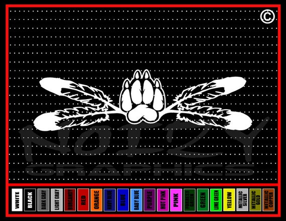 Tribal Indian Bear Claw Car or Truck Window Laptop Decal Sticker