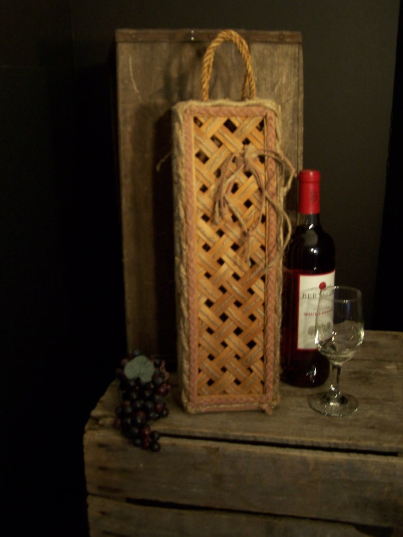 Wine Bottle Gift Box Carrier Wine Gifts Ooak Unique Recycled Up Scaled Refurbished Decorative Wine Corks Wine Theme Home Office