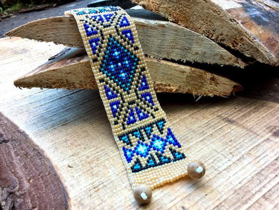 Cherokee Style Blue Old Patterns Native America Style Bead Etsy