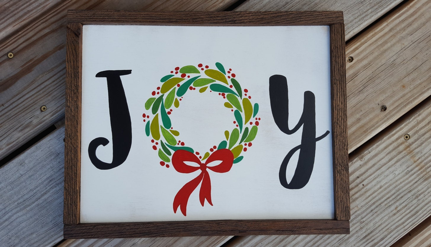 Joy Christmas Sign; Wreath Sign; JOY ; Gallery Wall Sign; Christmas ...