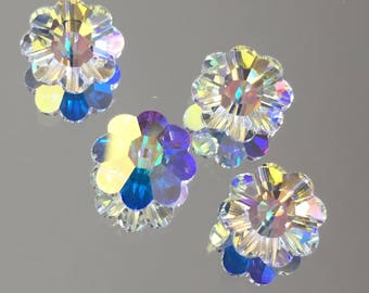 64f46a3d0d95 Swarovski Crystals - 6 8 10mm Margarita Crystal Flowers - Swarovski Crystal  AB - Crystal Spacers - Packages of 6   12 Beads ( 849)