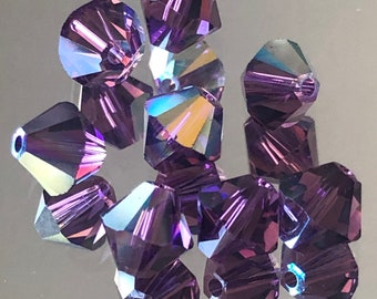 b36b30559 Swarovski Crystals - Choice of 4mm or 6mm Crystal Bicone Beads - Amethyst  AB - Purple Crystal Beads - Pkg of 12,24,48 Beads (#945)