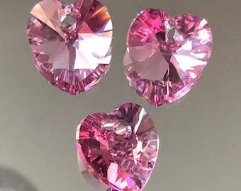 2pc Swarovski Crystal Rose Heart 6228 Pendant; 10mm or 14mm October Birthstone