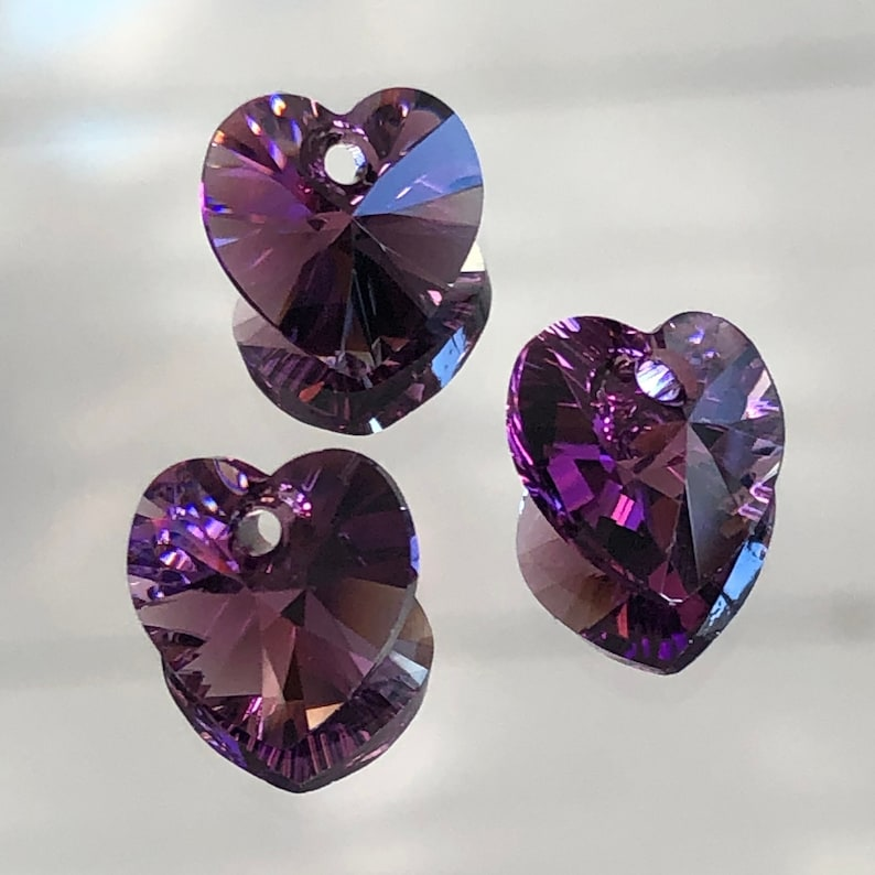 6 pieces 10mm Swarovski XILION Heart Pendants Crystal 6228 6202 ROSE AB