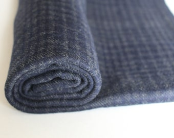 Navy Poly/Wool Plaid, sold by the half yard