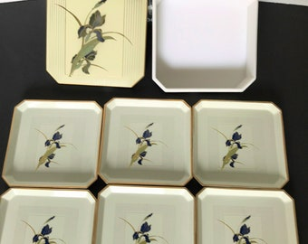 OTAGIRI Lacquerware Ivory & Blue GRAND IRIS Sushi Plates Coaster Set with Box
