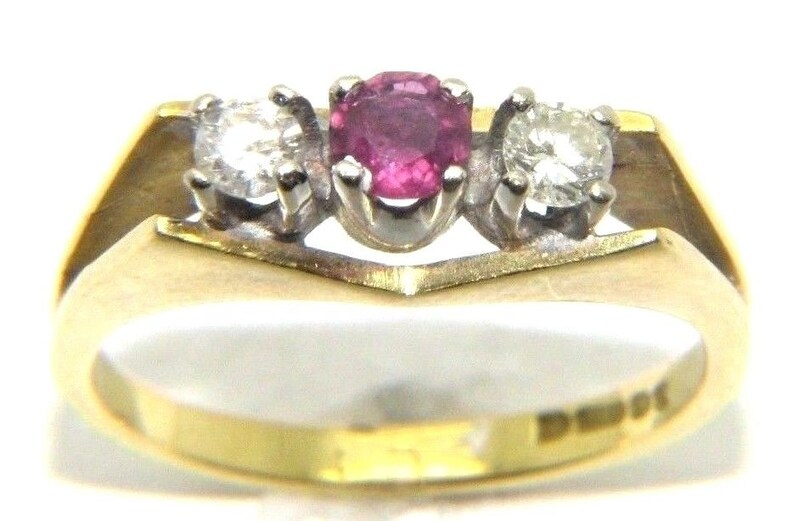 Ladies 18ct Gold Ruby And Diamond Ring Uk K 1 2 3 3g Etsy