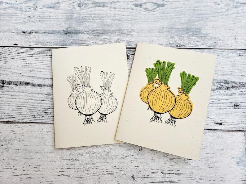 Onion Blank Card Bundle Handmade Greeting Card Pack Botanical Stationary