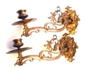 Vintage Pair of Ornate Wall Candle Holders Sconces, Art Nouveau