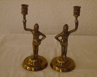 Pair of Antique Brass Figural Candlesticks, Knights in Armor, Victorian