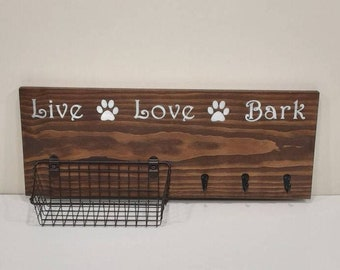 Wall Hanging Dog Treat/Walking Station With Basket