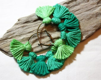 Earrings * multi-pompons * shades of green