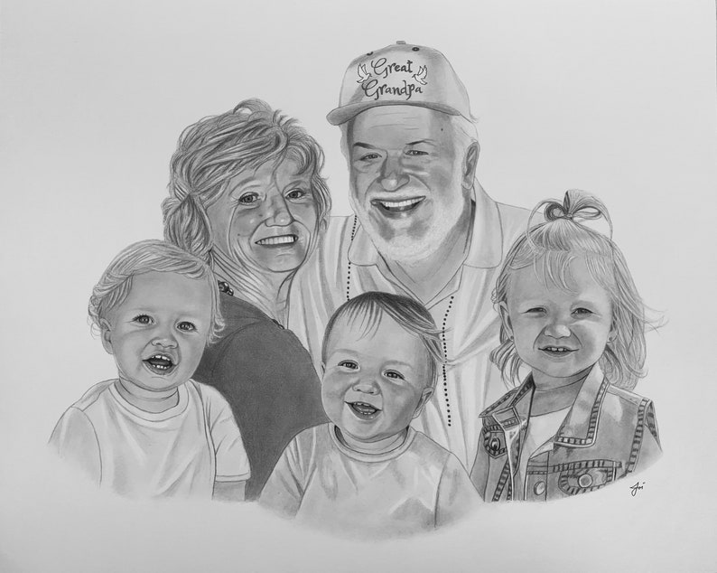 Custom Portrait from photo children portrait family portrait Hand Drawn Portraits Custom Pencil Drawing with Pencil Drawing